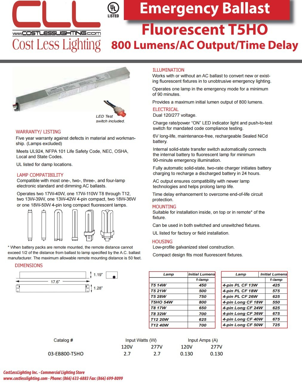 Cost Less Lighting Emergency Ballast 800 Lumen for F54 - T5HO Lamp AC Output Time Delay ''ACTD''