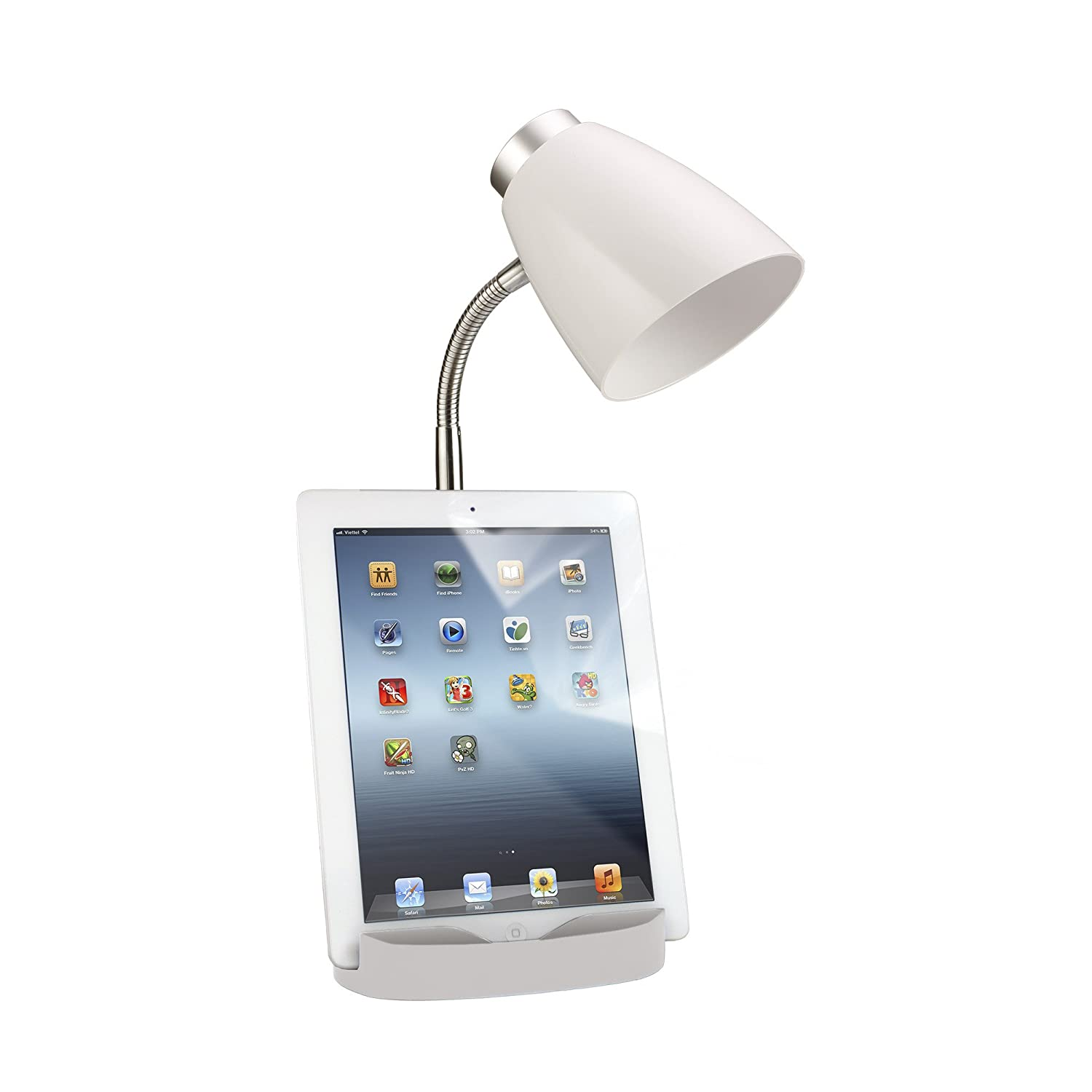 limelights ld1002 wht gooseneck organizer desk lamp with ipad