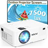 MVV 1080P Projector with 100'' Screen, [200 ANSI--Over 7500 Lux] Projector for Outdoor Movies Portable Compatible with Smartp