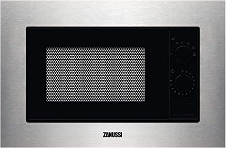 Opinión sobre Zanussi ZMSN5SX Microondas Integrable de 700W, 6 niveles de potencia, Mando giratorio, Programa de descongelacion rápida, Pulsador para apertura, Marco Integrado, Negro/Inox, 17L