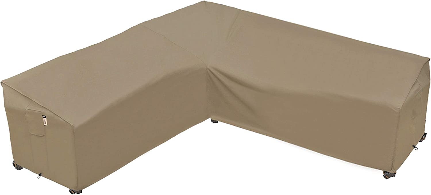 Heavy Duty Outdoor Sectional Sofa Cover, 100% Waterproof 600D Patio Sectional Couch Cover, V-Shaped Lawn Patio Furniture Cover