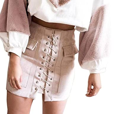 117cd40904 Beautytop Women Sexy Lace up Faux Suede Mini Skirt