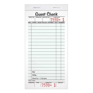 """Adams Guest Check Pads, Single Part, Perforated Guest Receipt, 3-2/5"""" x 6-1/4"""", 50 Sheets per Pad, 10 Pack (525SW)"""