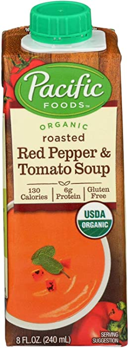 Pacific Natural Foods Soup | Organic Roasted Red Pepper and Tomato Delicious Ingredients Soup | 130 Calories | 6g Protein | Gluten Free - 12 x 8 oz