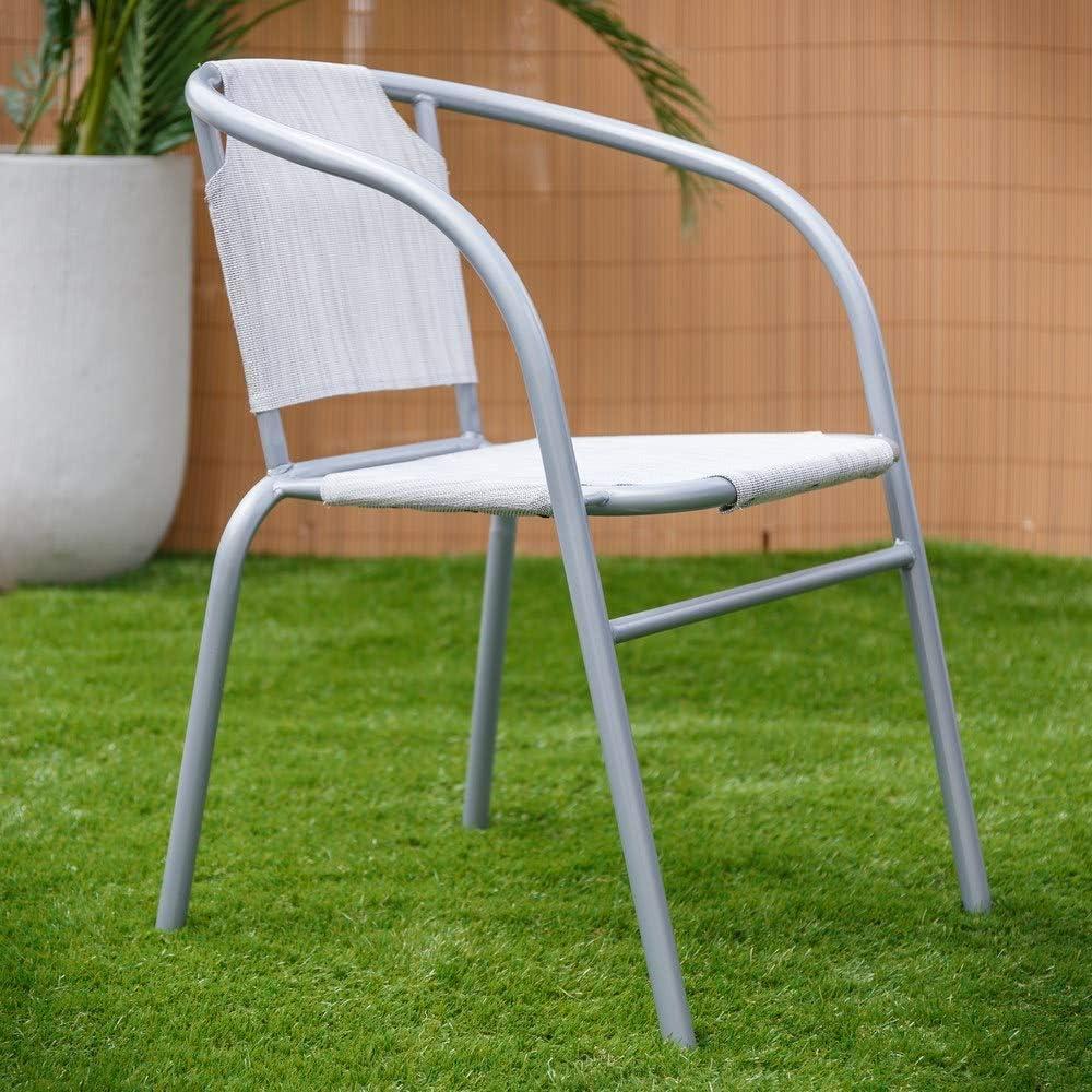 Silla apilable clásica Blanca de Hierro para jardín Garden - LOLAhome: Amazon.es: Hogar