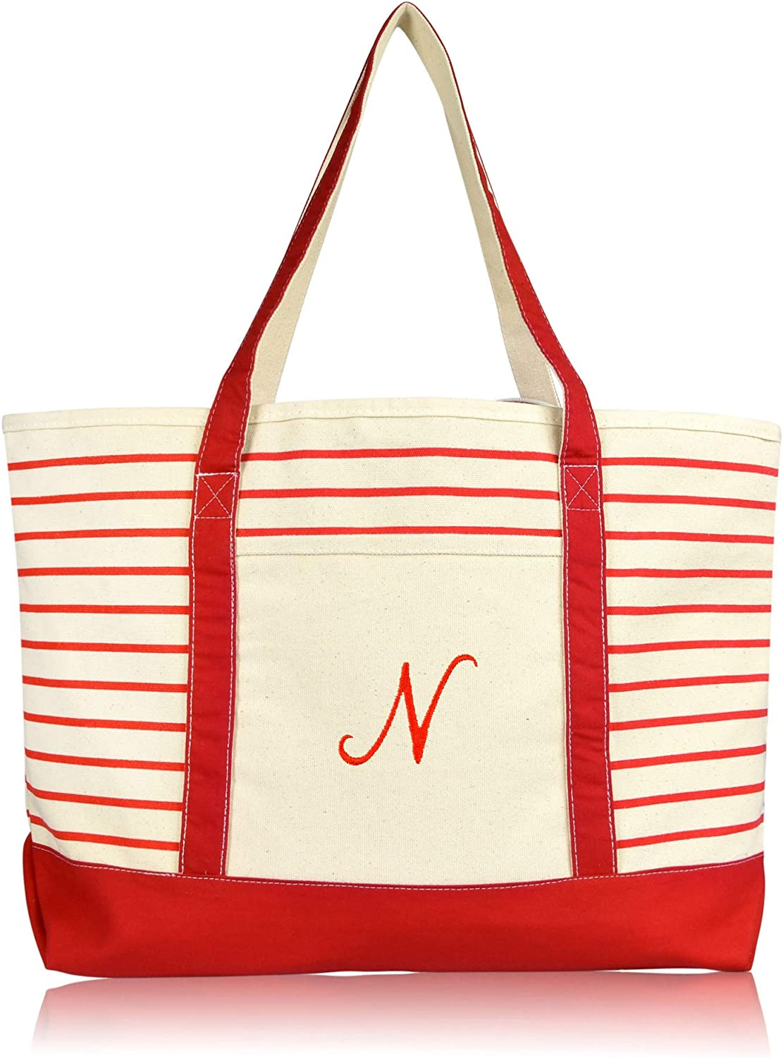DALIX 23 Large Striped N-Initial Tote Bag Womens Ballent Letter N in Black
