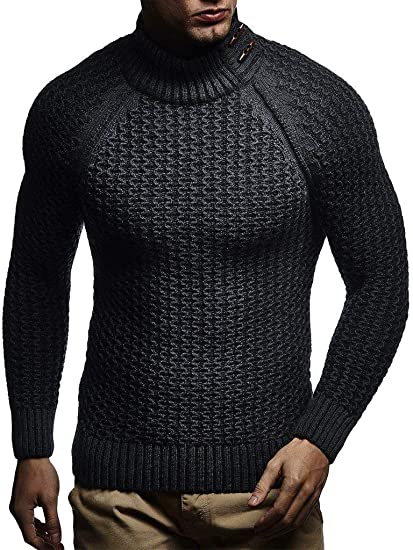 Taoliyuan Mens Cable Knit Turtleneck Sweater Winter Chunky Button