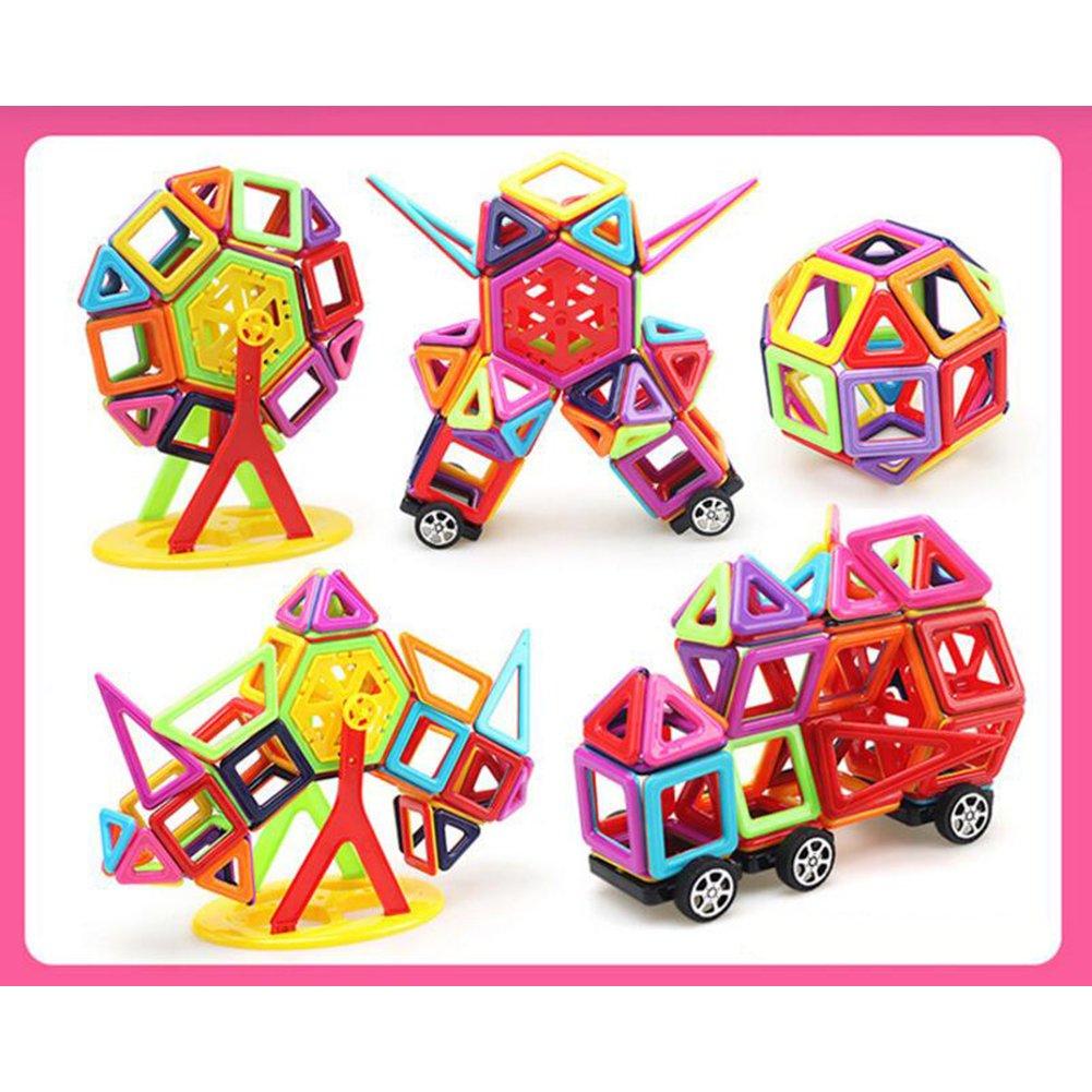 113pcs Magnetic Building Block Set,Magnet Kids Construction Stacking Toy Rainbow color,Magnetic Tiles Set for Toddler Kids (145pcs)