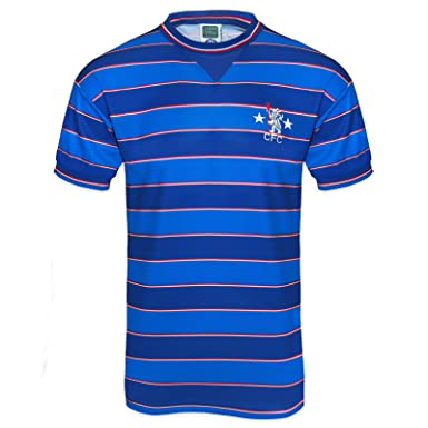 52c4f5736 Chelsea FC Official Football Gift Mens 1984 Retro Home Kit Shirt Blue   Amazon.co.uk  Clothing