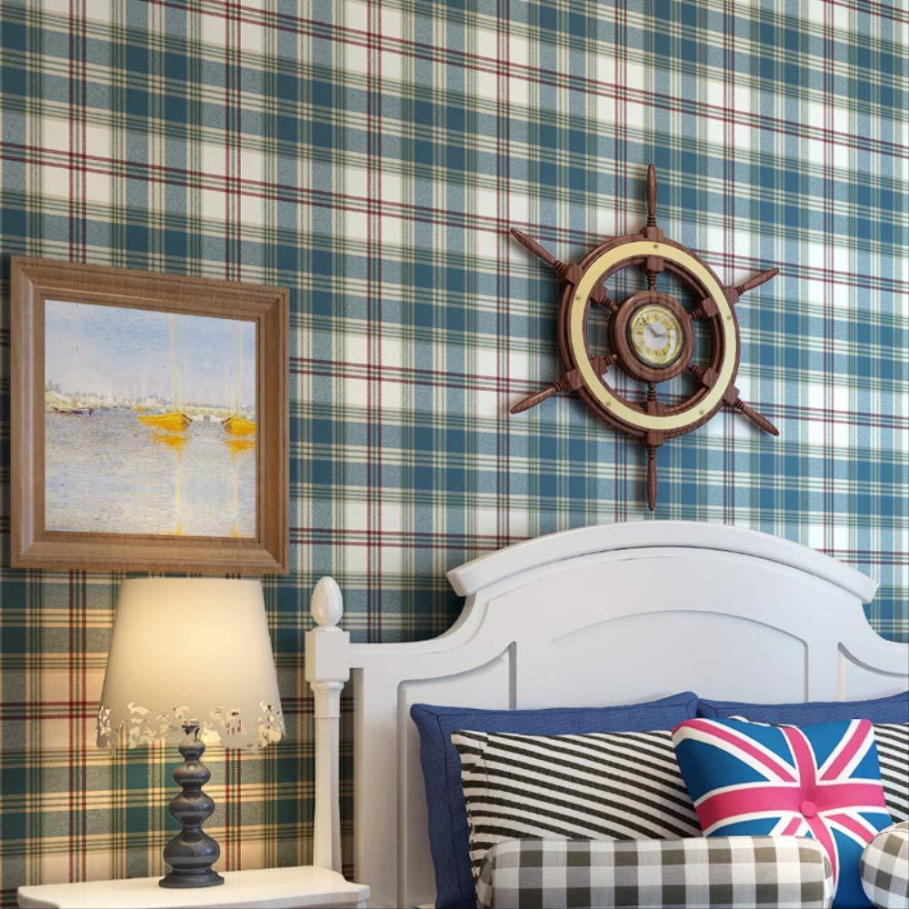 dise/ño retro americano fondo de pared para dormitorio Papel pintado de cuadros escoceses no tejidos sala de estar