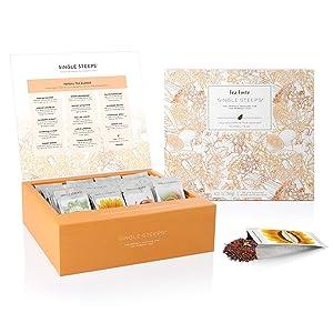 Tea Forte Herbal Teas Single Steeps Tea Chest Variety Gift Box, Loose Tea Sampler with 28 Assorted Teas