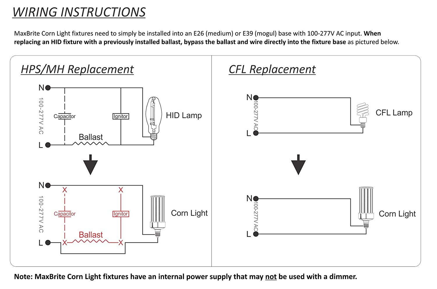 Hid Light 277v Electrical Wiring Diagrams Schematics Diagram For Fixtures 120w Led Corn Bulb 5000k Replaces 800w 13 800 Lumens Mogul Switch
