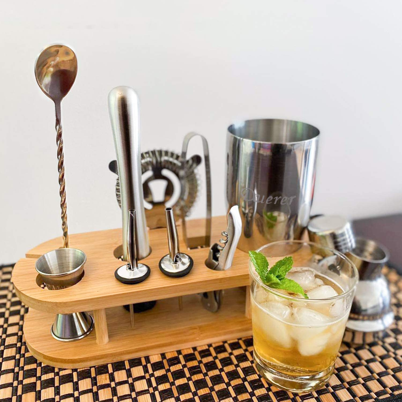 Duerer Kit de barman con soporte, set de coctelera de 11 piezas con elegante soporte de bambú, juego de herramientas Perfect Home Bar y kit ...