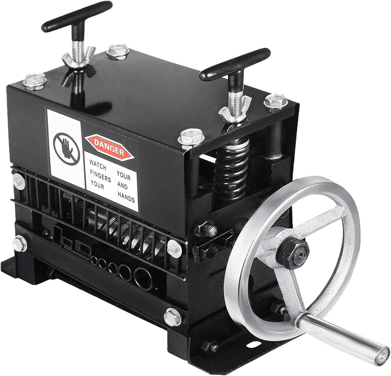 VEVOR Máquina Peladora de Alambre 1-20 mm, Máquina Automática de Pelado de Cables con 7 Cuchillas 8 Canales, Pelacables Automático de Cobre Manivela Manual Pelado Industrial de Cables Reciclaje