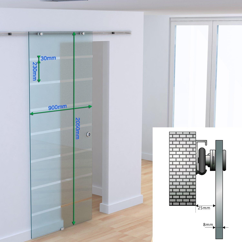 HOMCOM - Puerta corredera con riel de Aluminio y Cristal Satinado con Tiras Transparentes, 90 x 205 x 0,8 cm: Amazon.es: Jardín