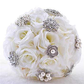 fournir beaucoup de acheter pas cher différents types de Bouquet de Mariee Artificielle Rose Blanc Romantique Fleur ...