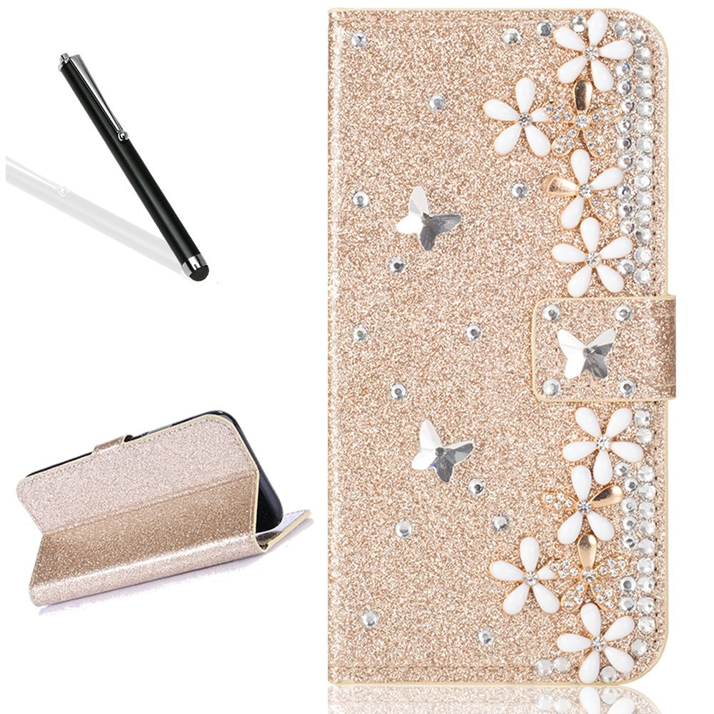Diamand Case for Huawei Mate 10 Pro,Bling Glitter Folio Case for Huawei Mate 10 Pro,Leecase Luxury Noble Sparkle Shining Gold Butterfly Flower Pattern Protect Cover for Huawei Mate 10 Pro
