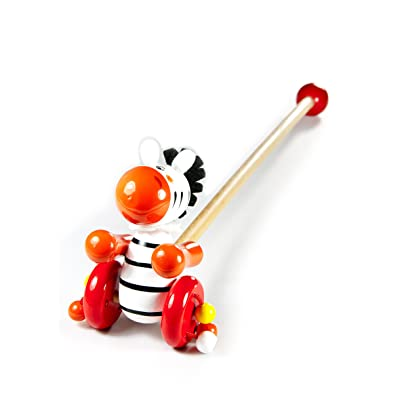 Push and Pull Along Wooden Toy Safari Animal Zebra for Toddlers and Babies Girl or Boy : Baby
