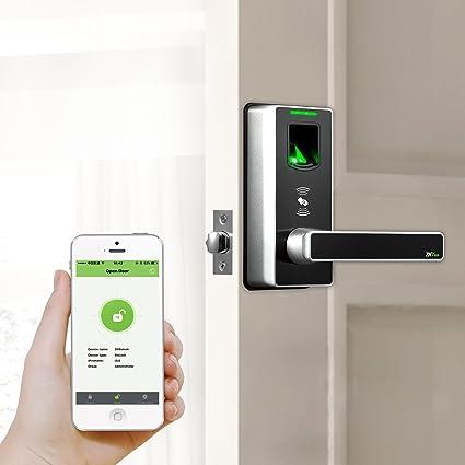 Bloqueo Bluetooth Cerradura Electronica Sin Llave con Cerradura de Puerta de Huellas Dactilares y Código de
