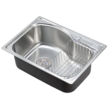 Superbe Voilamart Stainless Steel 1.0 Single Bowl Square Kitchen Sink With Dish  Drainer Rack, Size 560x410mm