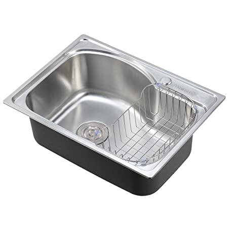Voilamart Stainless Steel 1.0 Single Bowl Square Kitchen Sink With Dish  Drainer Rack, Size 560x410mm