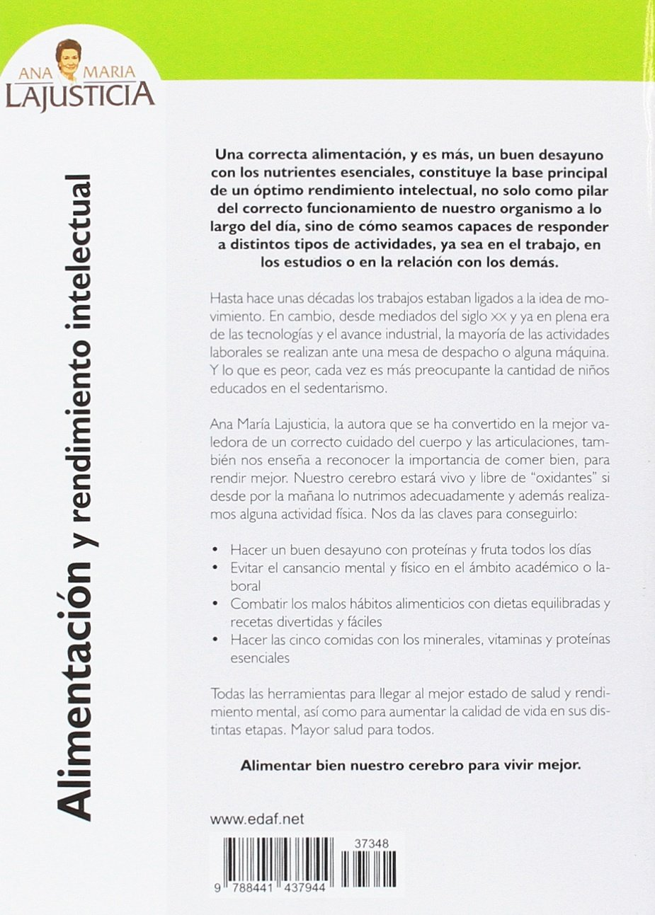 Alimentacion y rendimiento intelectual (Spanish Edition): Ana Maria Lajusticia: 9788441437944: Amazon.com: Books
