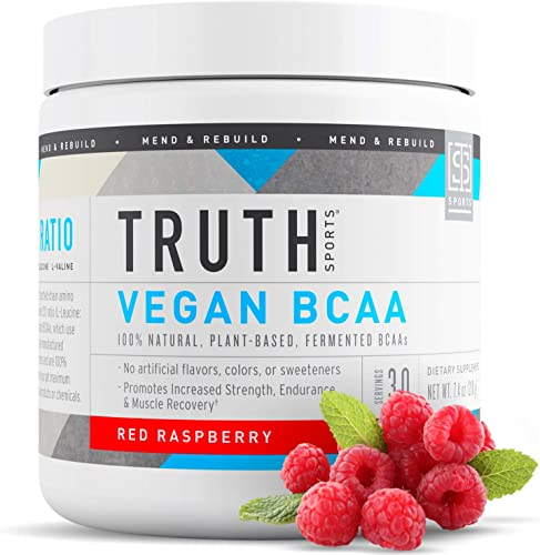 Truth Nutrition Vegan BCAA Powder- 1 1 Ratio All Natural Branched Chain Amino Acids for Energy, Muscle Building, Post Workout Recovery and Endurance Raspberry, 30 Servings