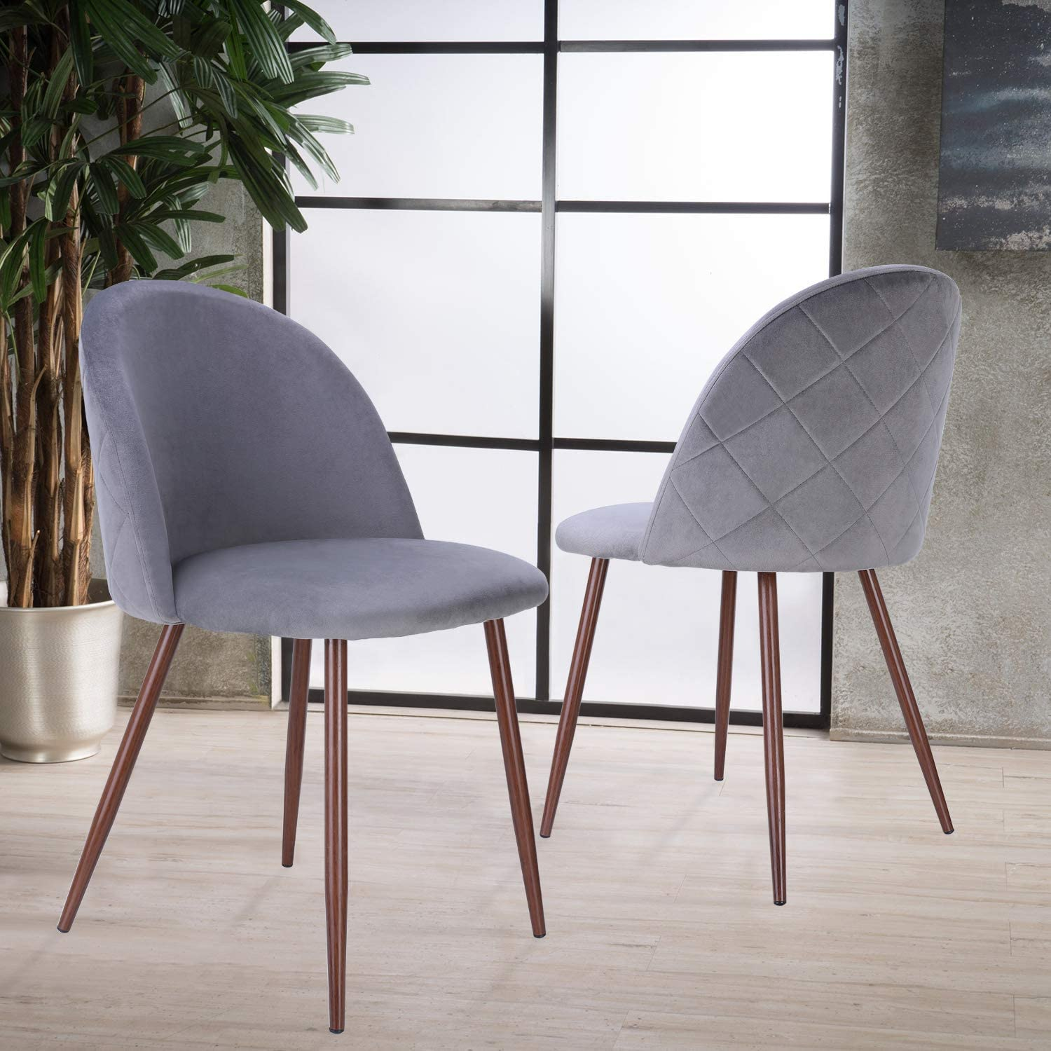 HOMECHO Dining Chairs Set of 2 Velvet Upholstered Side Chair Gray Modern Accent/Leisure/Chairs/with/Metal/Legs for/Kitchen//Living//Dining Room