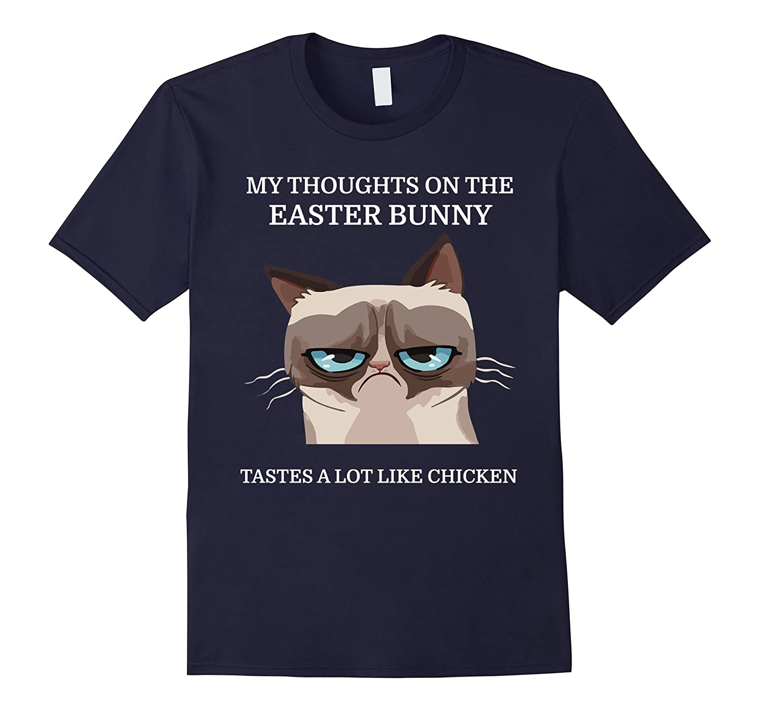 Grumpy Funny Cat T-Shirt Easter Bunny Chicken Humor Tee-TH