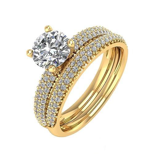 IGI certificado 18 K oro novia boda y anillo de compromiso de diamante (1,