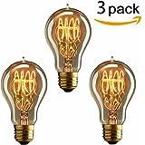 KINGSO 3 Pack E27 Edison Ampoules à Incandescence Vintage Lampe Filament A19 40W 220V Blanc Chaud Idéal pour Nostalgie et Eclairage Antique
