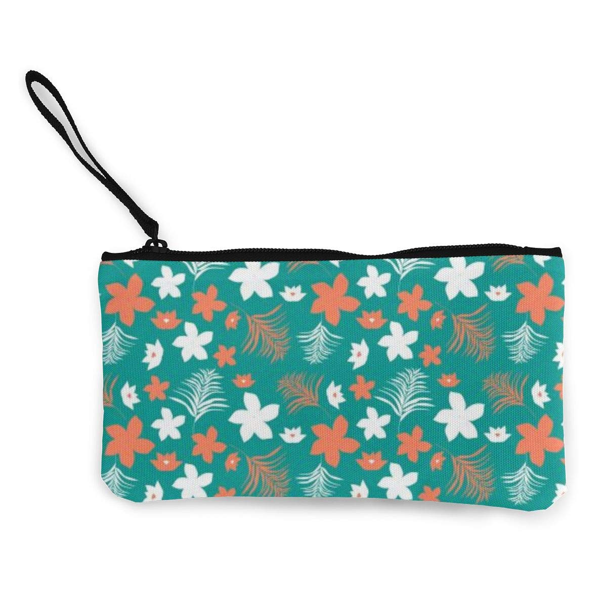 Coin Pouch Pacific Florals Canvas Coin Purse Cellphone Card Bag With Handle And Zipper