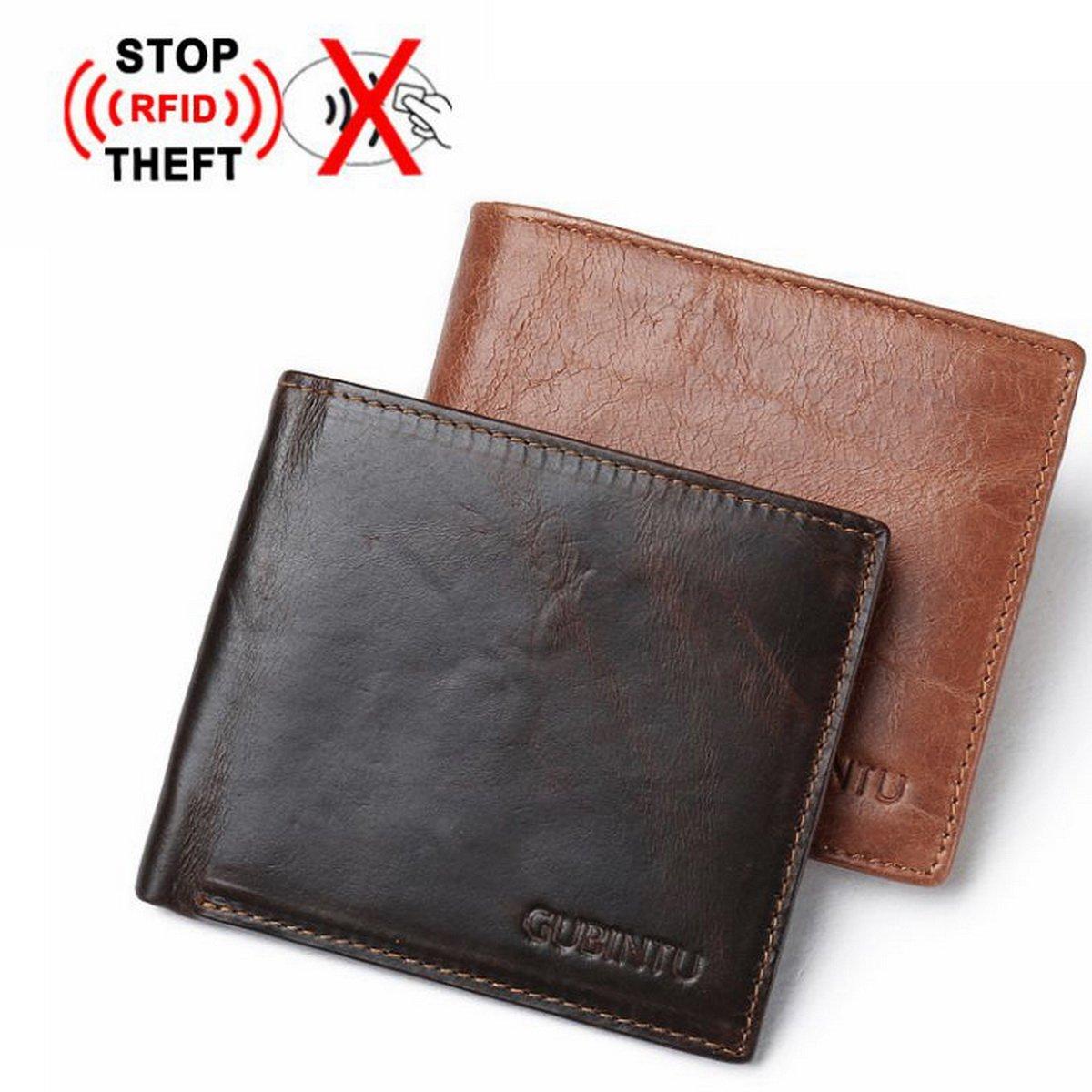 Genuine Leather RFID Blocking Wallet Purse Bifold Men Credit Card Holder Pocket Wallet Anti Scan ID Window Slim Lightweight (Coffee)