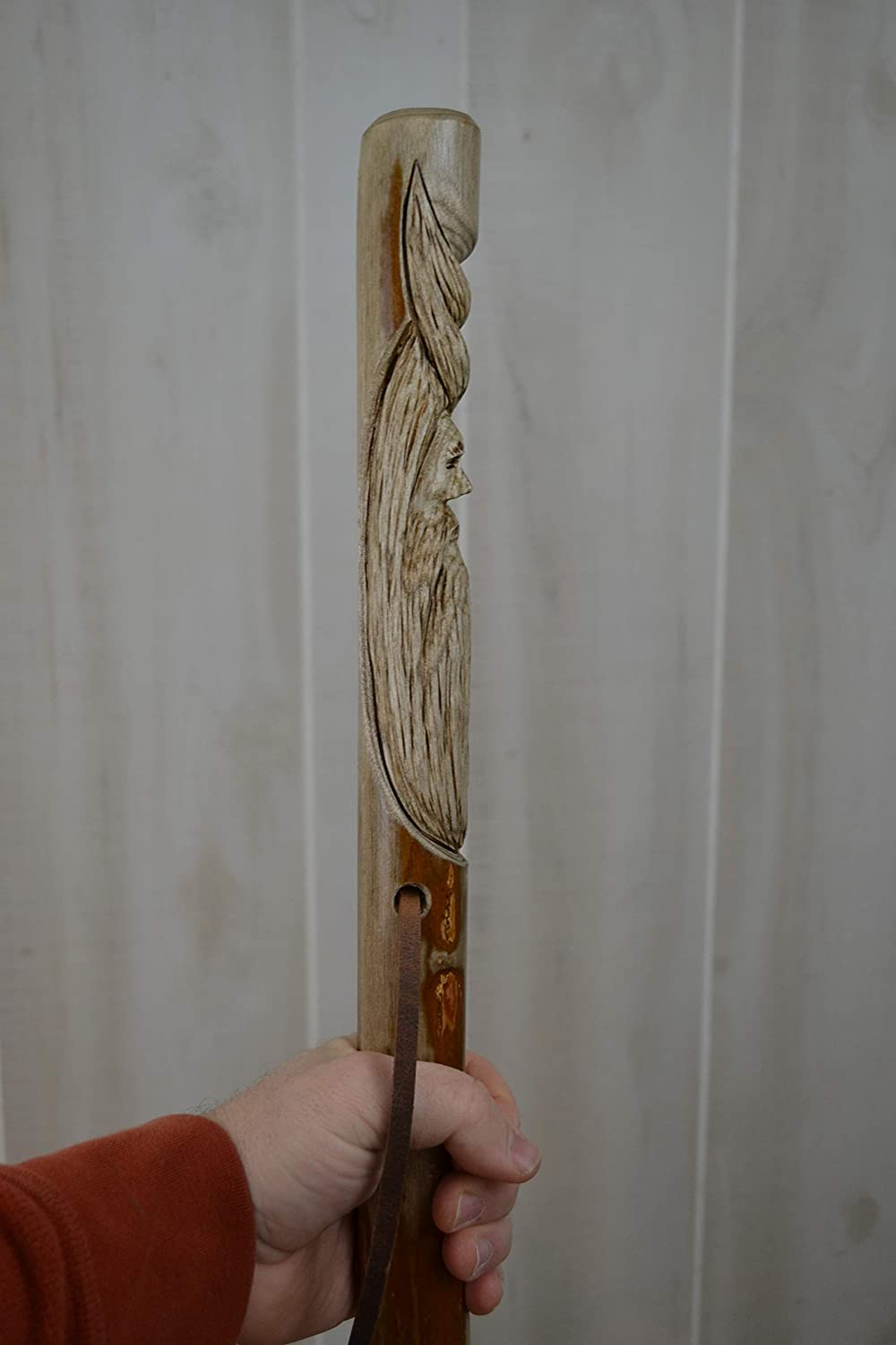 Wood Spirit Carving on 60 Walking Stick Kiln Dried by Creation Carvings #1340 Sassafras Hand Carved Hiking Staff