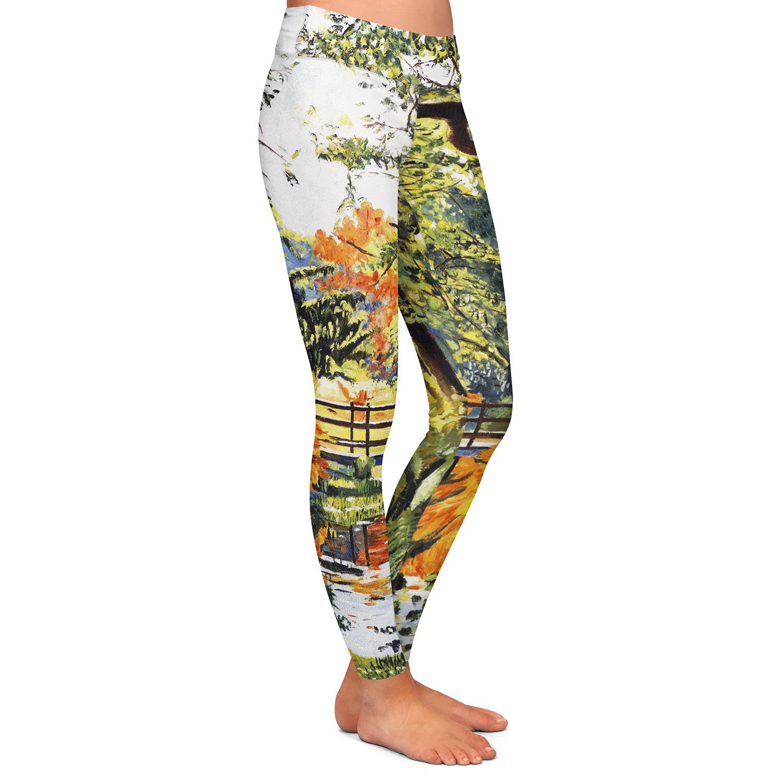 Autumn Water Bridge Athletic Yoga Leggings from DiaNoche Designs by David Lloyd Glover
