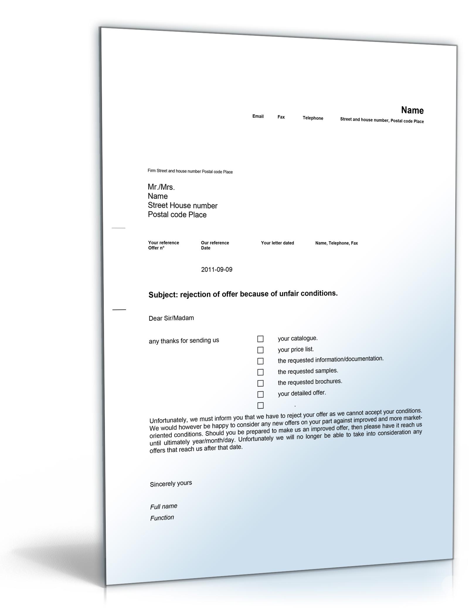 Geschäftsbrief Ablehnung Angebot Englisch Word Dokument Amazon