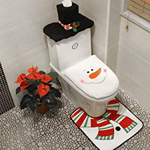 Sunm Boutique 3-Piece Christmas Snowman Toilet Seat Cover Toilet Tank Cover and Rug Snowman Bathroom Sets for Christmas Decorations