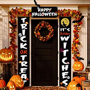 Halloween Decorations Outdoor, 3 Pcs Trick or Treat & It's October Witches Halloween Signs for Front Door or Indoor Home Decor, Halloween Welcome Signs