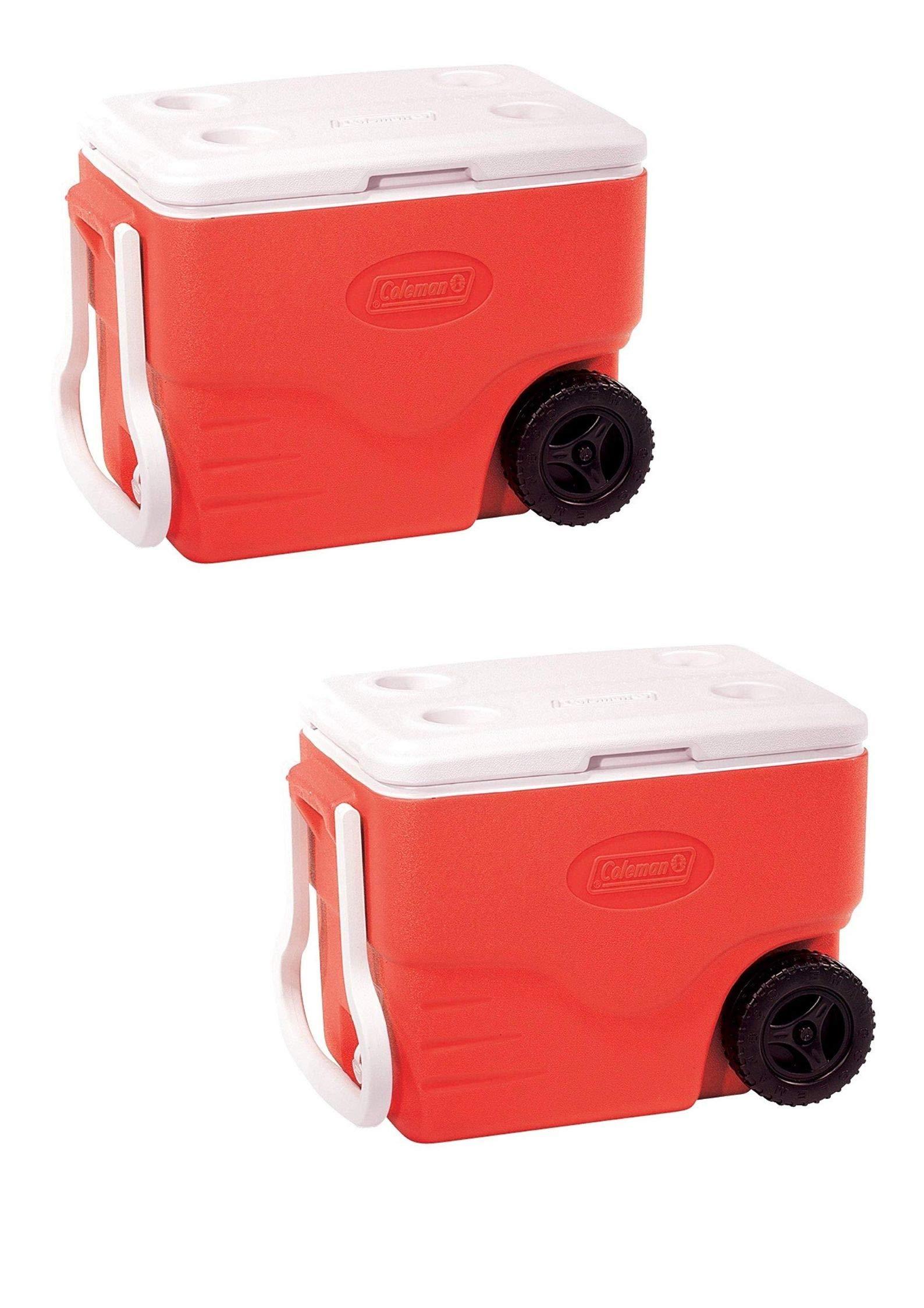 Coleman Performance Wheeled Cooler, 40 Quart (Red/Set of 2)