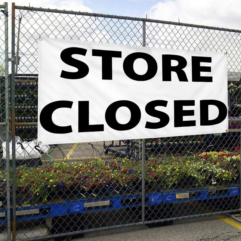 Vinyl Banner Multiple Sizes Store Closing B Outdoor Advertising Printing Business Outdoor Weatherproof Industrial Yard Signs 4 Grommets 12x30Inches