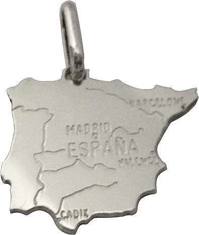 Colgante mapa país España – Plata Maciza + incluye cadena de color ...