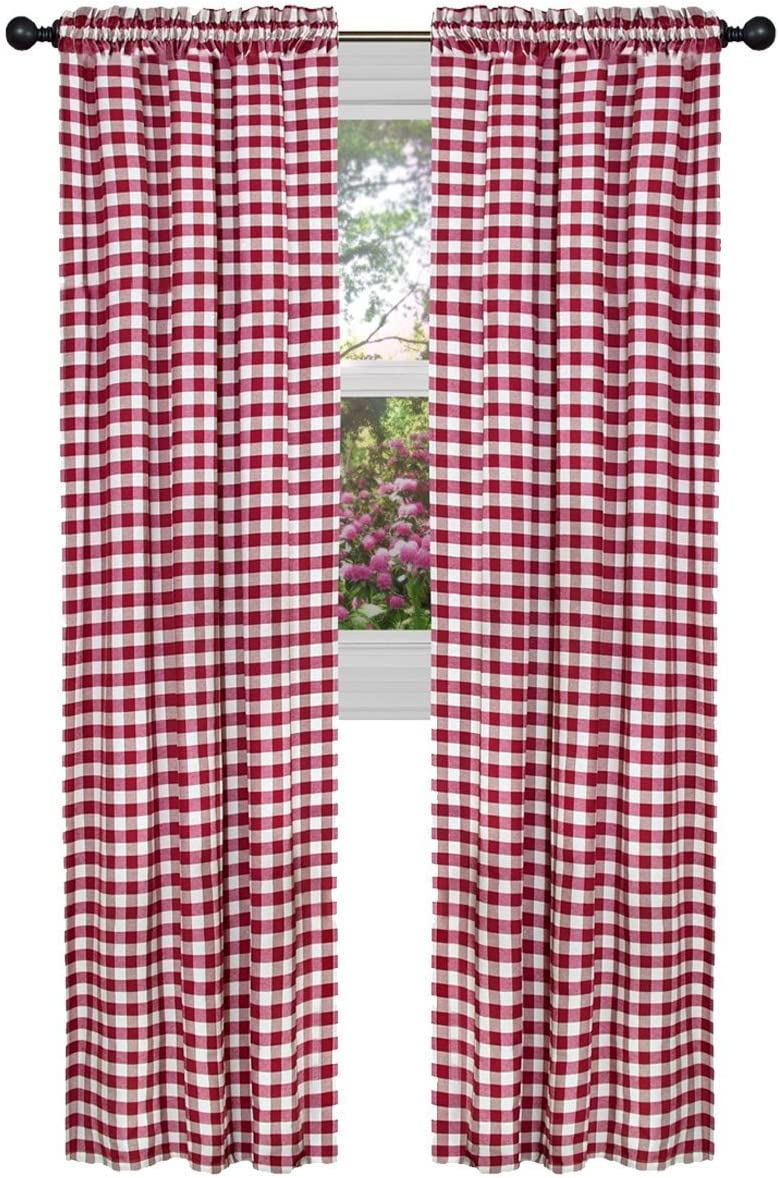 ArtOFabric Checkered Polyester Gingham Curtain Panel Set of 2 RED 58 X 120 Inch