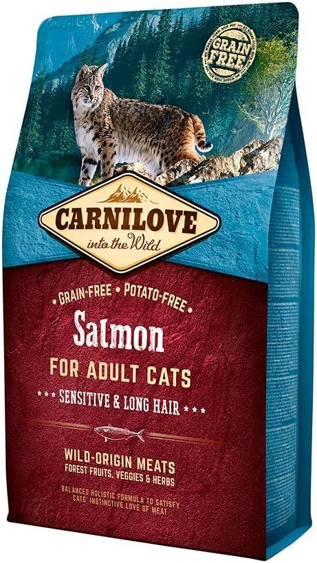 Carnilove Carnilove Salmon Sensitive & Long Hair Comida Deshidratada Para Gato 6 Kg - Paquete de 6 x 1000 gr - Total: 6000 gr