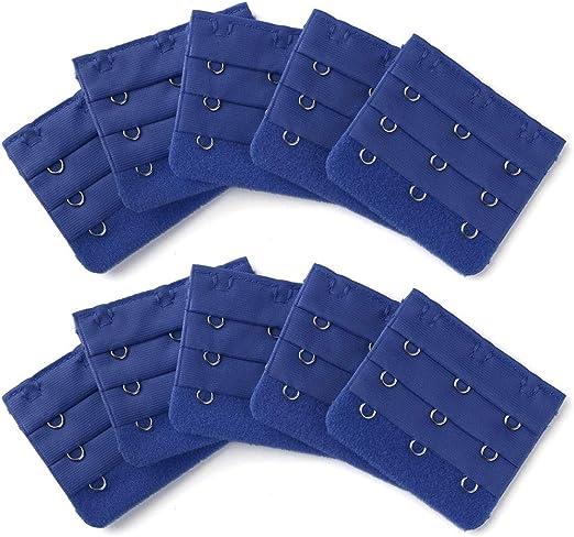 Sourcingmap 2 Pcs Women Bra Strap Extension 3 x 3 Hooks Underwear Buckle Hook Black Red