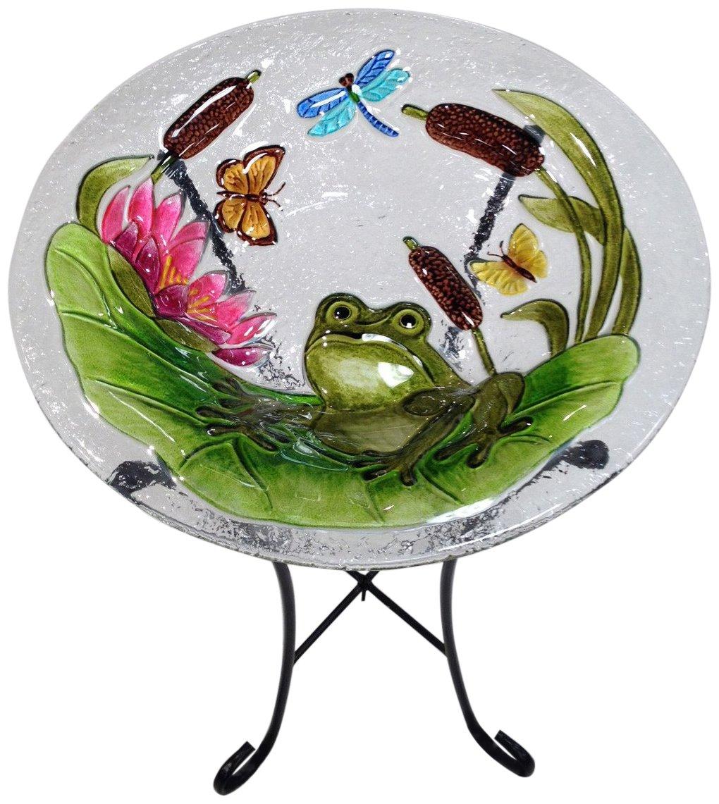 Continental Art Center CAC2221491 Bird Bath Glass Bowl, 13 by 2-Inch, Frog by Continental Art Center