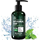 Antifungal Soap with Tea Tree Oil & Active Ingredients Help Treat & Wash Away Athletes Foot, Nail Fungus, Jock Itch, Ringworm, Body Odor & Acne. Antibacterial Defense Against Fungal Irritations - 8oz