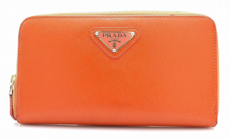 [プラダ] PRADA ラウンドファスナー 長財布 型押しレザー パテントレザー オレンジ 1M0506 B07D8K5BBL