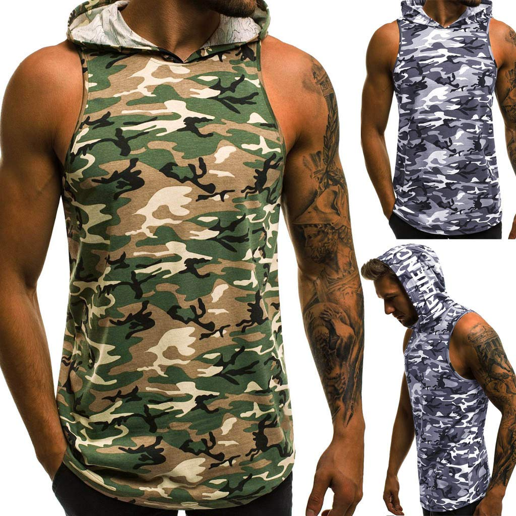 STORTO Mens Sleeveless Print Hooded Tank Tops Casual Workout Fit Sports Letter T-Shirts Tops