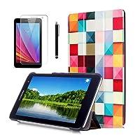 """Bella Custodia per Tablet Huawei T1 7.0,Ultra Slim Custodia Flip Smart Case Cover per Huawei Mediapad T1 7.0 Tablet 7""""Pollici Custodia in Pelle con Supporto + pellicola protettiva + Pennino"""