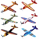 """iBaseToy 24 Pack Flying Glider Plane - 8"""" Long, 6 Different Designs, Sturdy Construction, Easy Assembly - Perfect Party Favors for Kids Boys Girls"""